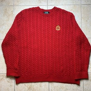 Warm Ralph Lauren Cable Knit Red Pullover Sweater